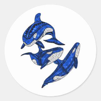 Adesivo Redondo Vagem de 3 orcas tribais