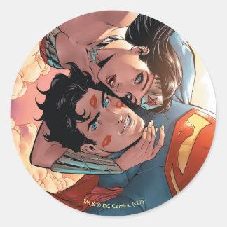 Adesivo Redondo Variação cómica do cobrir #11 do superman/mulher