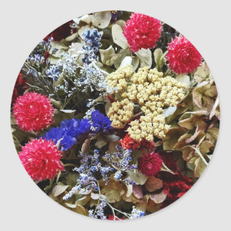 Adesivo Redondo Variedade de flores secadas