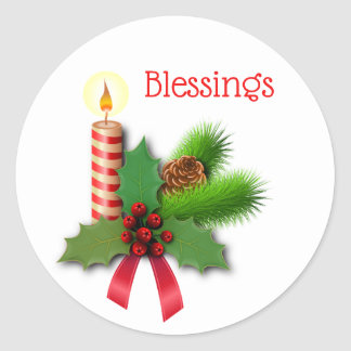 Adesivo Redondo Vela do azevinho das bênçãos com fita vermelha