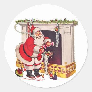 Adesivo Redondo Vem aqui Papai Noel/etiquetas