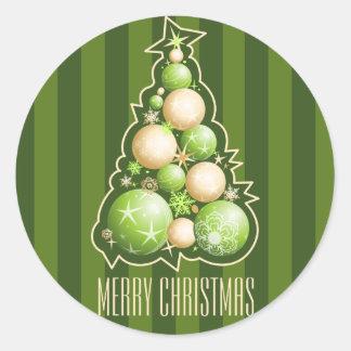 Adesivo Redondo Verde & árvore de Natal das bolhas do ouro