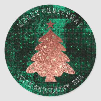 Adesivo Redondo Verde cor-de-rosa do ouro das estrelas da árvore