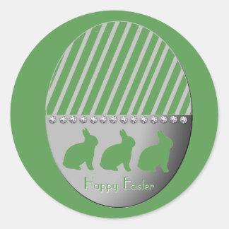Adesivo Redondo Verde dos coelhos do ovo da páscoa