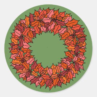 Adesivo Redondo Verde - grinalda vermelha do Natal