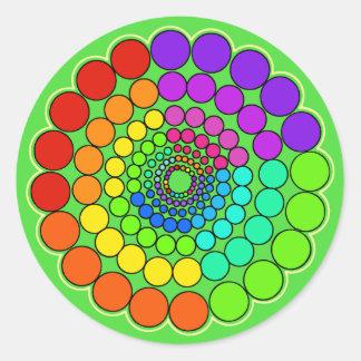 Adesivo Redondo Verde - mandala do espectro do arco-íris