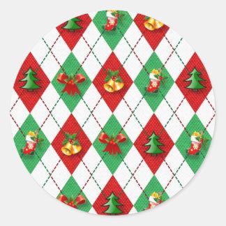 Adesivo Redondo verde vermelho do design novo do Natal
