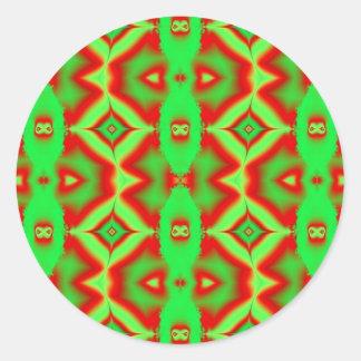 Adesivo Redondo verde vermelho selvagem