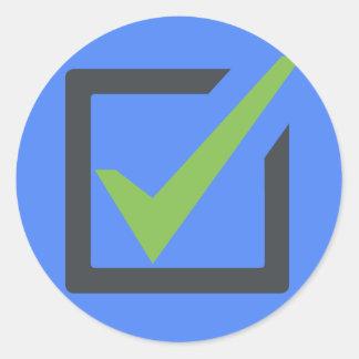 Adesivo Redondo Verifique Emoji quadrado