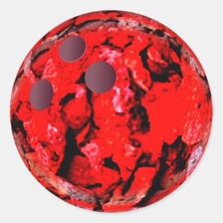 Adesivo Redondo Vermelho da bola de boliche