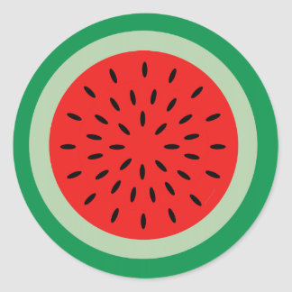 Adesivo Redondo Vermelho da fatia da melancia dos desenhos