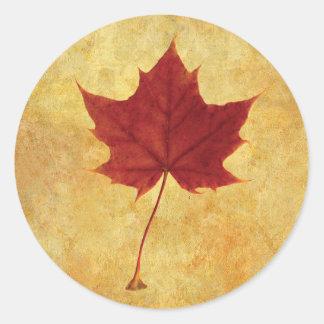 Adesivo Redondo Vermelho da folha de bordo do outono