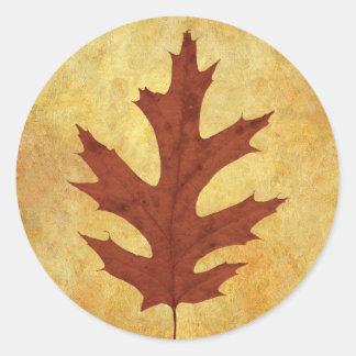 Adesivo Redondo Vermelho da folha do carvalho do outono