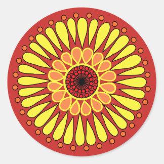 Adesivo Redondo Vermelho - mandala dobro amarela do girassol