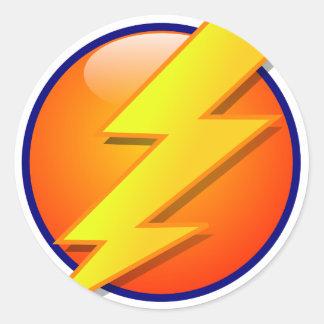 Adesivo Redondo vetor do ícone da energia da esfera do relâmpago