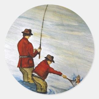 Adesivo Redondo Viagem de pesca do pai e do filho