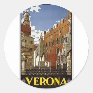 Adesivo Redondo Viagem de Verona do vintage
