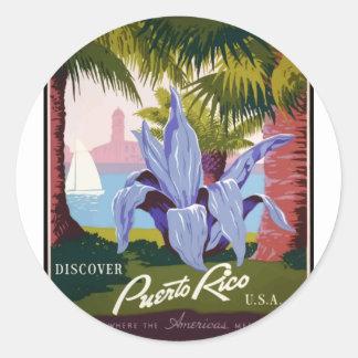 Adesivo Redondo Viagens vintage Puerto Rico