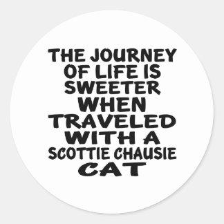 Adesivo Redondo Viajado com o gato do chausie do Scottie