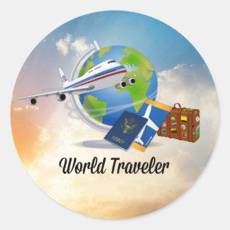 Adesivo Redondo Viajante de mundo, design 2