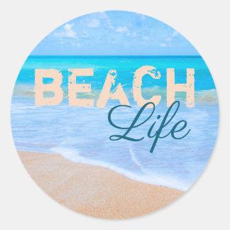 Adesivo Redondo Vida da praia. Mar tropical do Aqua do paraíso dos