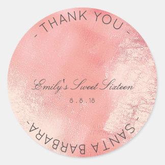 Adesivo Redondo Vidro metálico do rosa cor-de-rosa do pêssego do