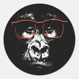 Adesivo Redondo Vidros do vermelho do gorila