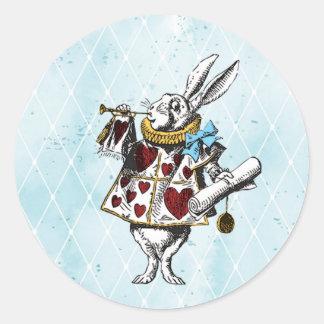 Adesivo Redondo Vintage Alice no coelho do país das maravilhas