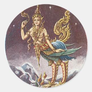 Adesivo Redondo Vintage Banguecoque Tailândia