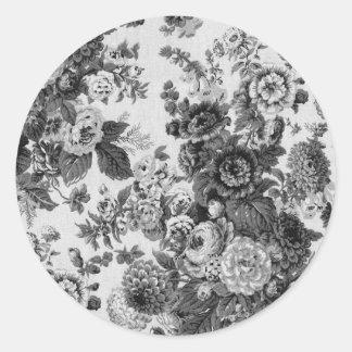 Adesivo Redondo Vintage cinzento preto & branco Toile floral No.3