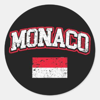 Adesivo Redondo Vintage da bandeira de Monaco