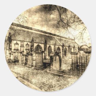 Adesivo Redondo Vintage de Edimburgo da igreja de Greyfriars Kirk