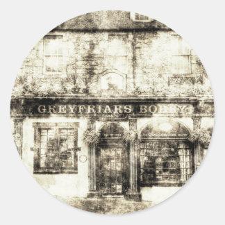 Adesivo Redondo Vintage de Edimburgo do bar de Greyfriars Bobby