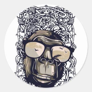 Adesivo Redondo vintage do macaco com glasess