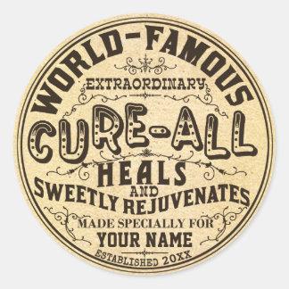 Adesivo Redondo Vintage engraçado cura personalizada toda