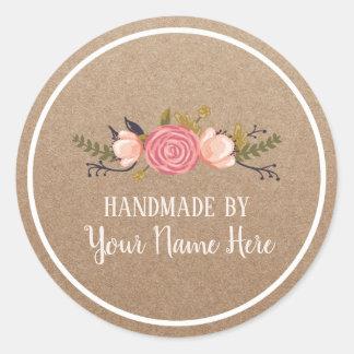 Adesivo Redondo Vintage Handmade Kraft rústico floral do produto