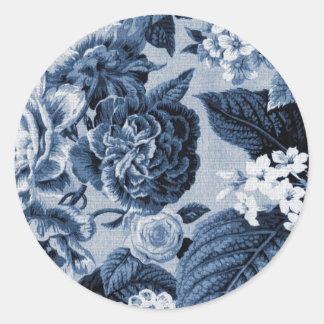 Adesivo Redondo Vintage Toile floral No.1 do azul de índigo