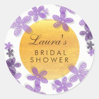 Adesivo Redondo Violeta floral da lavanda da aguarela do chá de