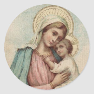 Adesivo Redondo Virgem Maria abençoada com bebê Jesus