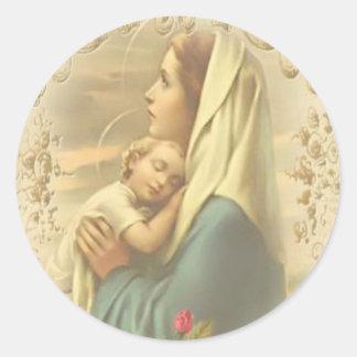 Adesivo Redondo Virgem Maria abençoada com criança Jesus
