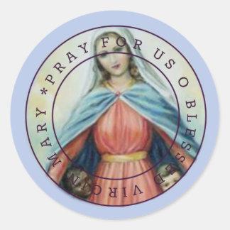 Adesivo Redondo Virgem Maria abençoada com crianças