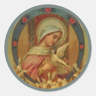 Adesivo Redondo Virgem Maria com pombas, lírio & rosas