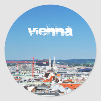 Adesivo Redondo Vista aérea de Viena, Áustria