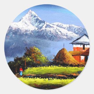 Adesivo Redondo Vista panorâmica da montanha bonita de Everest