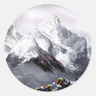 Adesivo Redondo Vista panorâmica da montanha de Everest
