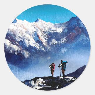 Adesivo Redondo Vista panorâmica da montanha máxima de Ama Dablam