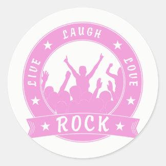 Adesivo Redondo Vive a ROCHA do amor do riso (o rosa)