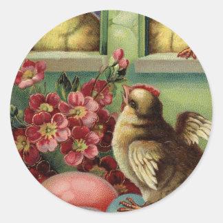 Adesivo Redondo Vizinhos & ovos velhos da galinha do felz pascoa
