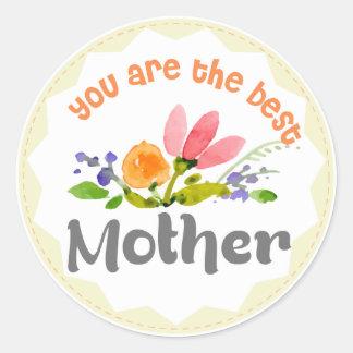 Adesivo Redondo Você é as flores pintadas a melhor mãe