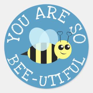 Adesivo Redondo Você é assim abelha Utiful